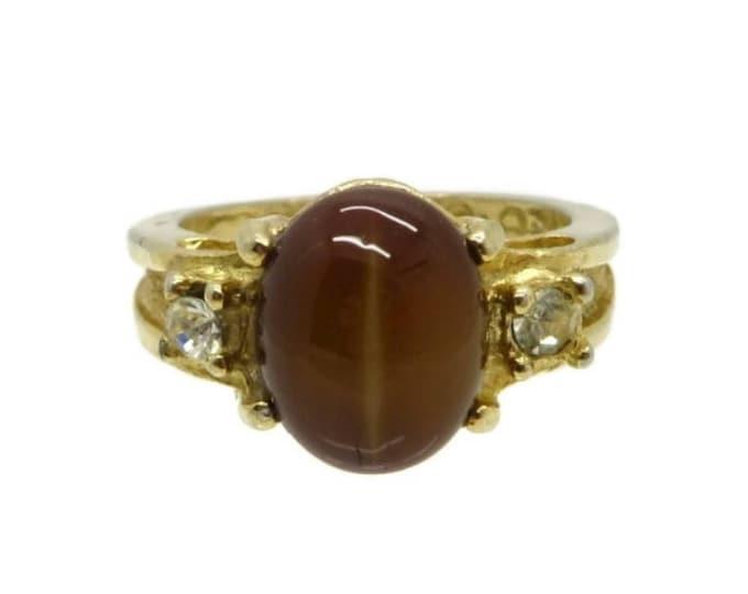 Tiger Eye Ring, Vintage Gold Plated , signed Uncas Tiger Eye & Rhinestone Ring, Size 5