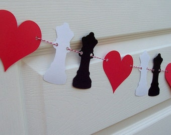 Alice in Wonderland Banner - Chess Party - Queen of Hearts Party Banner - Birthday Wedding Bridal Shower Baby Shower