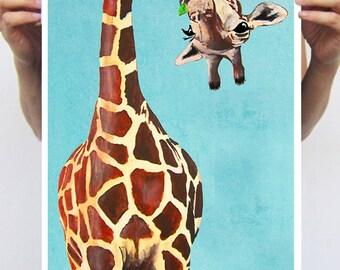 Girafe avec feuille verte: Wall Art impression affiche A3 Illustration giclée Print art Tenture murale décor Animal peinture Art numérique