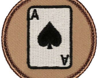 Ace of Spades Patch (057) 2 Inch Diameter Embroidered Patch