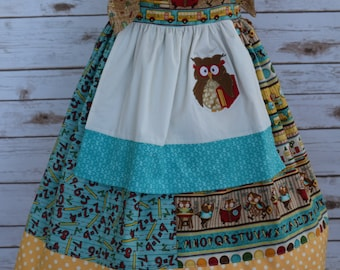 Girls Back to School Dress-Wise Old Owl Dress-Apron Dress-Knot Dress-Jumper Dress-Special Occasion Dress-Ready to Ship- Size 5/6