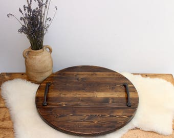 Rustic Serving tray, Wooden tray, round tray, Coffee table tray, Decorative tray