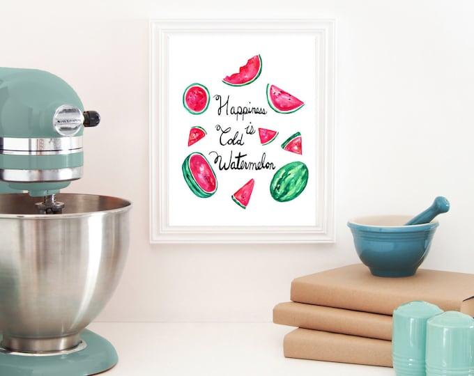 Watercolor Watermelon, Melon Print, Kitchen Wall, Gallery Wall Art, Summer Print, Home Decor, Melon Art, Watercolor Fruit, Watermelon Print