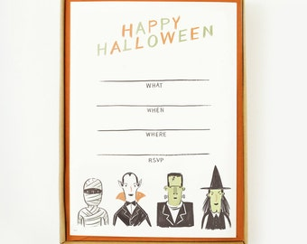Halloween Creatures Invitations 8pcs