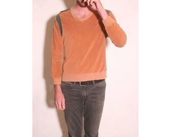 Vintage 1970s Long Sleeve Rust and Grey V neck Mens Velour Worn Shirt size M