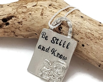 Be Still and Know necklace - Hand cast pewter necklace - Scripture Jewelry - Bible verse necklace - Religious jewelry - Christmas gift wife