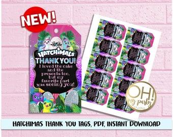 Hatchimals THANK YOU TAGS, Hatchimals Birthday ,Hatchimal Party Supplies, Hatchimal printable, Hatchimals favors,hatchimals instant download