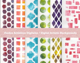 Backgrounds for Scrapbook, Printable, JPG,  Digital Download, Instant Download from original Acrylic mono printing with Gelli Plate