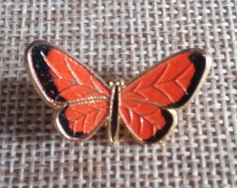 Vintage Orange Monarch Butterfly Enamel and Gold Tone Brooch Lapel Pin Costume Jewelry