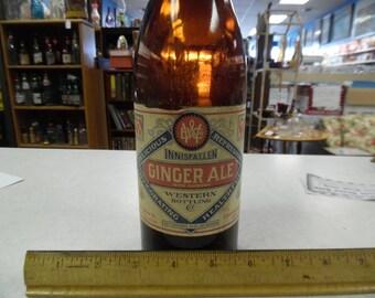 Innisfallen ginger ale bottle, San Franciscon ginger ale, vintage ginger ale bottle, vintage amber bottle