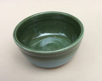 handmade green, stoneware, ceramic, pottery bowl great for everyday use, serving, ready to ship B105