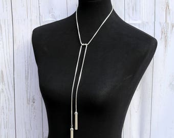 Sterling Silver Lariat Necklace, Extra Long Silver Lariat Necklace, Unique Lariat Necklace, Classy Lariat Necklace, Lariat & Y Necklace