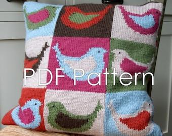PDF Knitting Pattern - Birdy Cushion