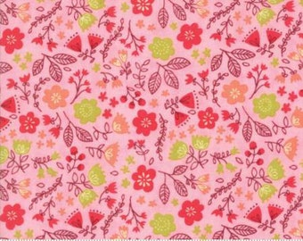 Toss the Garden Pink Cotton Woven,  Just Another Walk in the Woods by Moda