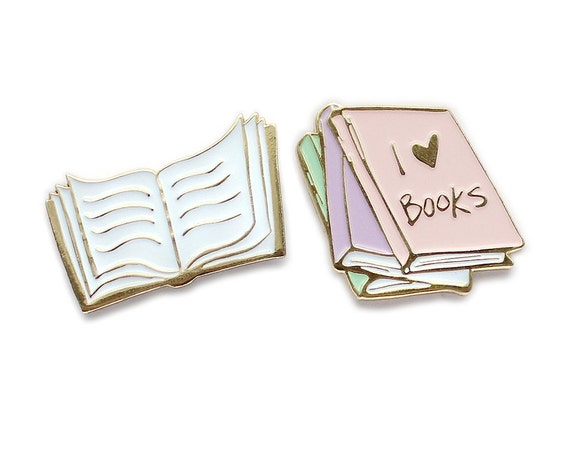 I Love Books Collar Clips / Enamel Lapel Pin Set by Etsy