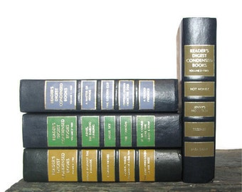 Vintage Readers Digest Books / Blue / Green / Yellow / Brown / Photo Prop