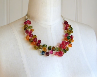 Colorful Quartz Necklace, Colorful Necklace, Wire Crochet Necklace, Beach Necklace