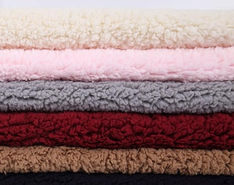 Berber fleece fabric polyester faux sherpa material cotton plush for coat lining blanket slippers rugs shoes hat making