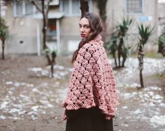 Knit Crochet Shawl.Triangle Shawl
