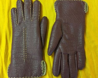 Vintage Leather Maroon Lined Driving Gloves