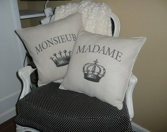 Royal Monsieur and Madame Pillow Covers