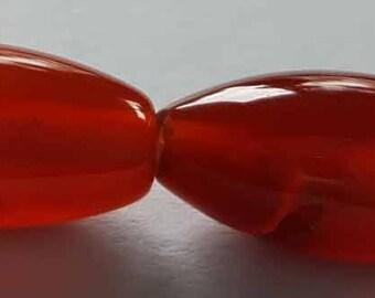 "Carnelian oval 9 x 16mm beads 16"" strand"