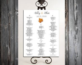 Fall Leaf Seating Chart for Wedding Table Assignments for your Wedding Reception - Printable PDF File - Fall In Love