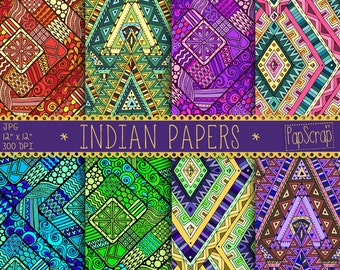 "Indian digital paper : ""Indian Papers"" oriental digital papers in Indian style, colorful oriental patterns for scrapbooking, decoupage"