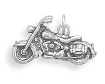 Solid Sterling Silver Motorcycle Charm, Harley Davidson Charm, Rider, Hog, Bike, Cycle, Hell's Angels, Necklace Charm, Bracelet Charm, Biker