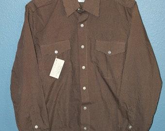 New Deadstock Vintage Burma Polka Dots BROWN WHITE Disco Shirt Small Oleg Cassini 70s