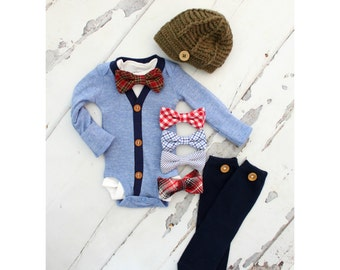 Newborn Baby Boy Coming Home Outfit Set of up to 4 Items. Cardigan Bodysuit, Bow Tie Bodysuit, Leg Warmers & Knit Newsboy Hat. Easter