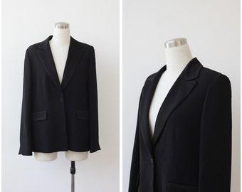 Vintage Black Evening Jacket, Weill Paris Black Formal Blazer Large