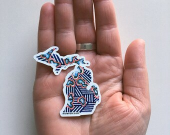 Striped Michigan Sticker, Michigan pride sticker, Colorful Michigan Decal, Michigan car decal, Michigan Sticker, bumper sticker, Blue stripe