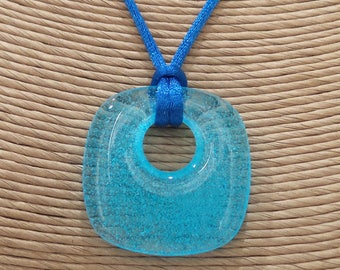 Blue Glass Necklace, Fused Glass Jewelry, Transparent Blue Jewelry, Etsy Casual Jewelry, Ready to Ship - Salina - 4047 -2