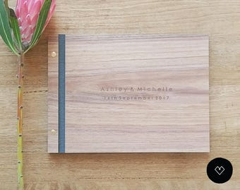 Rustic wood guest book rustic guest book wood guest book rustic Wedding Guest Book Ideas | Large (A4)