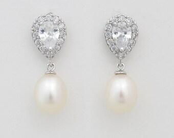 Freshwater Pearl Earrings, Bridal Pearl Earrings, Pearl Wedding Earrings, Natural Pearl Earrings, Bridal Jewelry, Ref ROMY