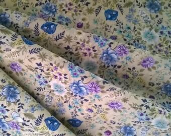 PRINTED blue flower 100% cotton background ecru width 140cm