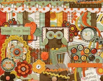 Thanksgiving Owls Scrapbook Kit, Autumn Owl Clip Art, fall digital papers for greeting cards, scrapbooks, invitations, Thanksgiving decor