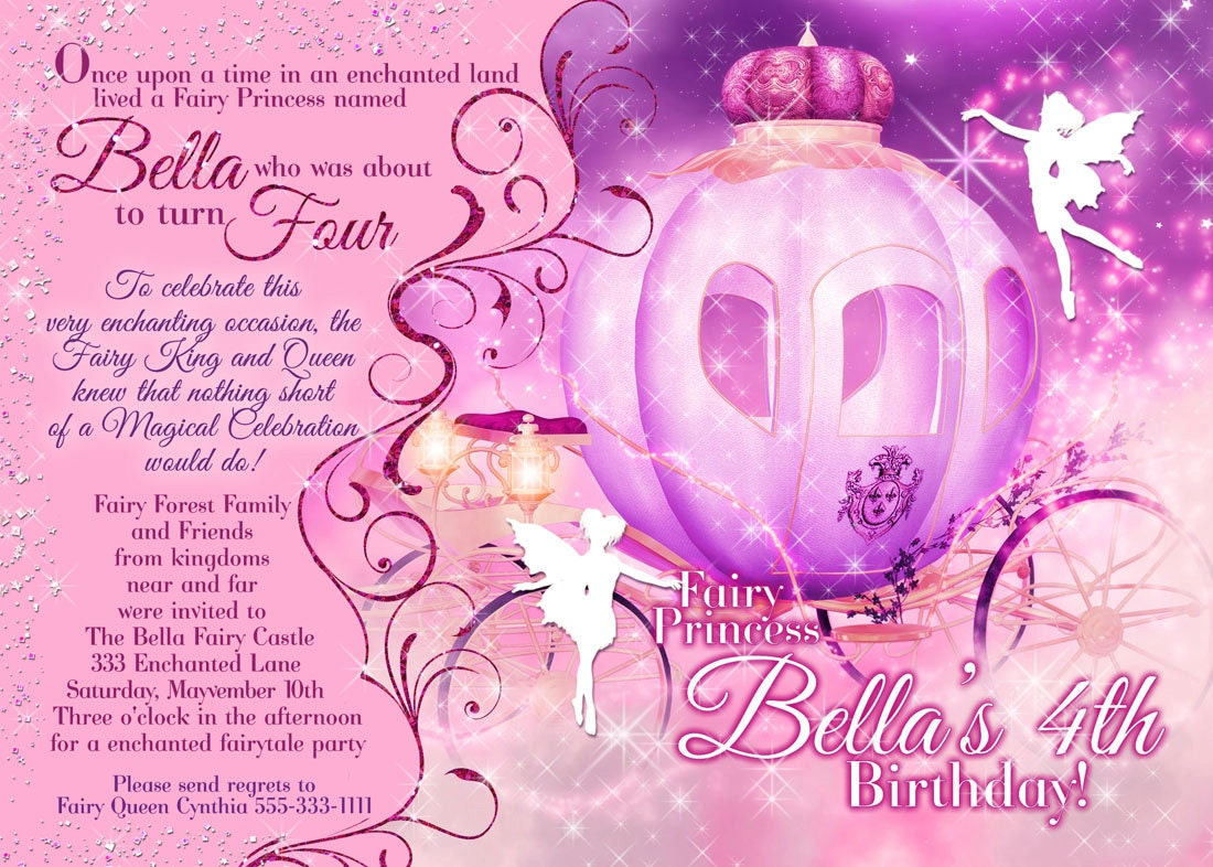 Fairy Princess Party Invitation Birthday Party Invitations