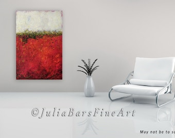 Red Abstract Giclee Print, Large Art Print on Canvas, Red and White Abstract, Color Block Art, Modern Canvas Art, Red Painting by Julia Bars