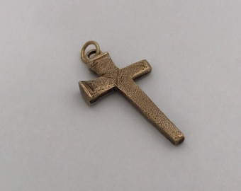 Rustic Nail Cross, Brass Pendant Only