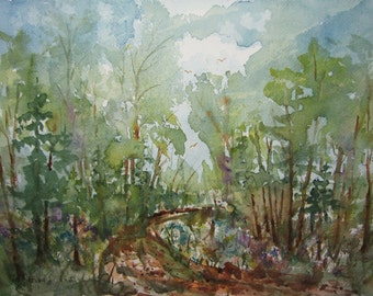 Original Watercolor Landscape Painting 11X15, watercolor painting, watercolor art, landscape painting, forest painting, woodland watercolor.