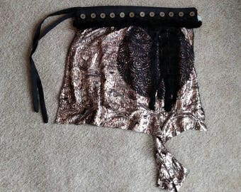 Tribal Fusion Belt with Black circle and fringe accents and Silver Skirt