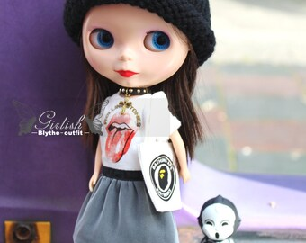 Girlish - Punk Dress Set for Blythe doll - dress / outfit
