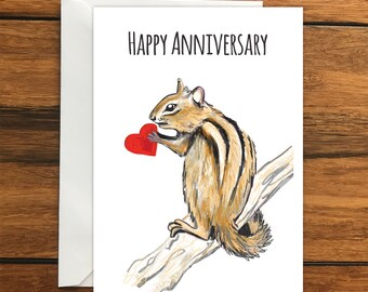 Happy Anniversary Chipmunk One Blank Greeting card and Envelope A6