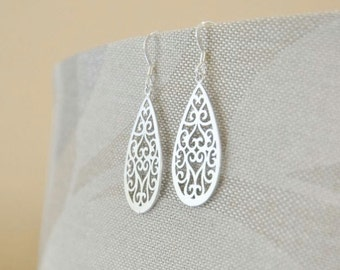 Sterling Silver Teardrop Oriental Filigree Earrings- Asian Inspired, delicate and intricate filigree design