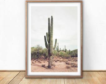 Cactus Print - Cactus Wall Art, Digital Download, Boho Decor, South western, Tall Cactus Poster, Printable Cacti, Arizona Desert, Nature Art