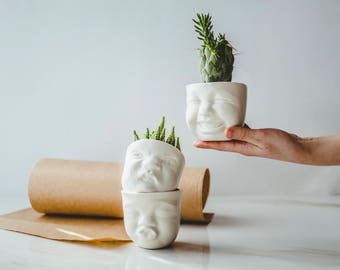 Funny Planters Set | Cute Plant Set | Head Planter | Cactus Pot Set | Cute Succulent Pot | Cactus Planters Pots | Indoor Garden Gift