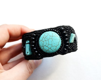 Black Turquoise Beaded embroidered cuff bracelet Beadwork wrist cuff Boho wide unique bracelet Statement Hand embroidered jewelry piece