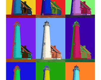 Pop Art - Tawas Point Lighthouse - East Tawas, Michigan (Art Prints available in multiple sizes)